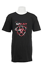 Ariat Boy's Black with Camo Logo Short Sleeve T-Shirt