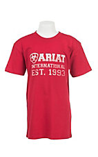 Ariat Boy's Red with White Logo Short Sleeve T-Shirt