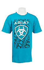 Ariat Boy's Turquoise with Tire Track Logo Short Sleeve T-Shirt