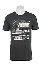 Ariat Men's Charcoal with American Flag Logo Short Sleeve T-Shirt