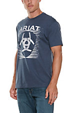Ariat Men's Navy with White Logo Short Sleeve T-Shirt