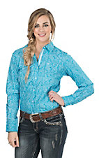 Ariat Women's Turquoise with White Floral Print Long Sleeve Western Shirt