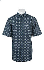 Ariat Men's Navy Diamond Print Short Sleeve Western Shirt