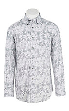 Ariat Men's Grey Paisley Print Long Sleeve Western Shirt