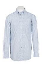 Ariat Men's White and Blue Flower Print Long Sleeve Western Shirt