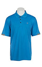 Ariat Men's Walker Waterfall Blue Heat Series Tek Polo Shirt