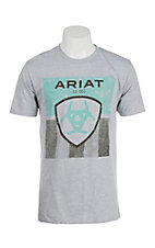 Ariat Men's Grey Stars and Stripes Logo Short Sleeve T-Shirt