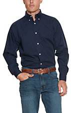 Ariat Men's Solid Navy Wrinkle Free L/S Western Shirt