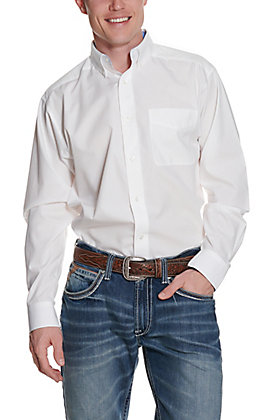 Ariat Men's Solid White Wrinkle Free L/S Western Shirt