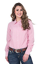 Ariat Women's Pink and White Stripe Long Sleeve Western Shirt