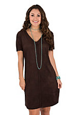 Ariat Women's Brown Faux Suede Braided Detail with Short Sleeve Dress