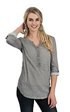 Ariat Women's Heather Grey Henley 3/4 Button Sleeves Casual Knit Top