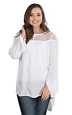 Ariat Women's White Crochet Yoke with Long Bell Sleeves Fashion Tunic Top