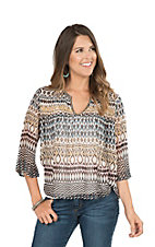 Ariat Women's Barlow Printed Tunic with Lightly Beaded Neckline 3/4 Sleeve Fashion Top
