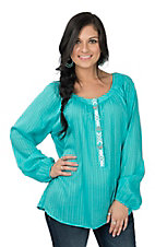 Ariat Women's Turquoise Hedy Tunic with 3/4 Embroidered Button Down Long Cinched Sleeve Fashion Top