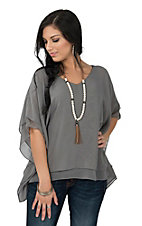 Ariat Women's Madison Grey Flowy Poncho Fashion Top