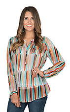 Ariat Women's Multi Colored 3/4 Button Down and Long Sleeve Sheer Fashion Top
