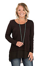 Ariat Women's Black with Chiffon Trim and Long Sleeves Fashion Tunic Top