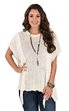 Ariat Women's Cream Side Fringe Pullover Poncho Shirt