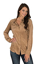 Ariat Women's Tan Faux Suede Fringe Long Sleeve Western Snap Shirt