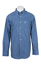 Ariat Men's Blue and White Print L/S Western Shirt