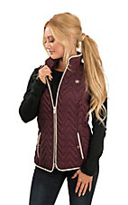 Ariat Women's Maroon and Beige Full Zip Chevron Quilted Vest