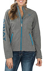 Ariat Women's Grey and Light Blue Softshell Team Jacket