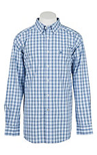 Ariat Men's Pro Series Ramsey Washed Blue Plaid L/S Western Shirt