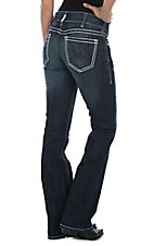 Ariat Women's Dark Wash with Cream Embroidery Open Pocket Mid Rise Boot Cut Jeans