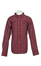 Ariat Pro Series Boy's Red Benton Plaid L/S Western Shirt