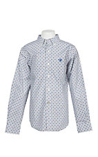Ariat Boy's Grey and Blue Burton L/S Western Shirt