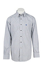 Ariat Men's Burton Grey with White Print L/S Western Shirt