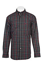 Ariat Pro Series Black, Red, White and Blue Belk Night Plaid L/S Western Shirt