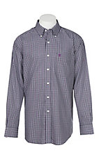 Ariat Men's Zaline Purple Plaid Wrinkle Free L/S Western Shirt