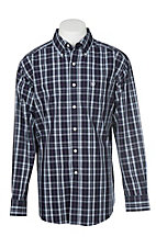 Ariat Men's Zandow Navy and Purple Plaid Wrinkle Free L/S Western Shirt