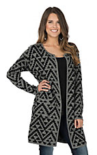 Ariat Women's Grey and Black with Aztec Print Long Sleeve Cardigan