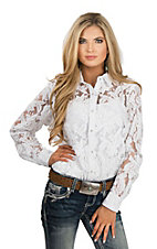 Ariat Women's White Lace Woven Long Sleeve Western Snap Shirt
