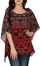 Ariat Women's Red and Black Tribal Print Chiffon with Short Sleeves Tunic Fashion Top