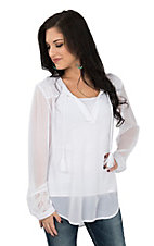 Ariat Women's White Embroidered Yoke Long Sleeve Fashion Top
