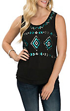 Ariat Women's Black Sequin Aztec Tank