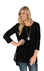 Ariat Women's Black Burnout Velour Damask Print with 3/4 Sleeves Tunic Fashion Top