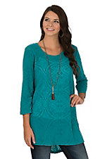Ariat Women's Turquoise Burnout Velour Damask Print with 3/4 Sleeves Tunic Fashion Top