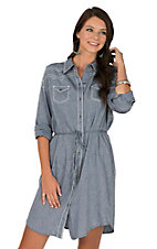Ariat Women's Denim Twill and White Embroidery Long Sleeve Dress