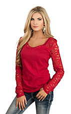 Ariat Women's Red with Lace Long Sleeve Fashion Top