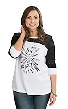 Ariat Women's White Free Spirit Aztec and Lace Casual Knit Shirt