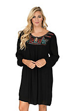 Ariat Women's Black with Embroidery Cinched Long Sleeve Yoke Dress