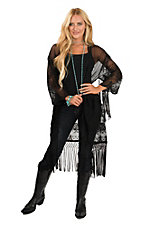 Ariat Women's Black Mesh Crochet Details and Fringe Trim with 1/2 Sleeve Kimono