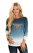 Ariat Women's Blue Ombre Gold Flake Longhorn and Arrow Screen Print with Long Sleeves Casual Knit Top