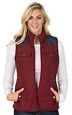 Ariat Women's Red and Navy Aztec Full Zip Reversible Quilted Vest