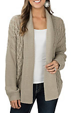 Ariat Women's Natural Wheat Cable Long Sleeve Cardigan Sweater